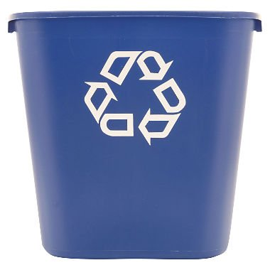 Recycling Container Deskside - Rubbermaid FG295673 Blue Medium Deskside Recycling Container with Universal Recycle Symbol, 28-1/8 qt Capacity, 14.4