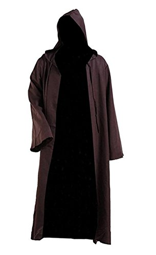 Brown Hooded Robe (Flycos Mens Deluxe Cosplay Costume Hooded Robe Colorful Cloak Knight Tunic (M, Brown))