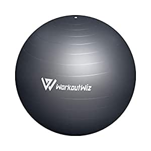 Workout Wiz Swiss Balls Yoga Home Gym Exercise Pilates Fitness 75cm Silver