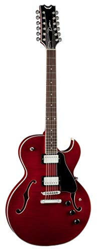 - Dean COLT FM12 SC Colt Flame Top 12-String Semi-Hollow-Body Electric Guitar with Piezo, Scary Cherry