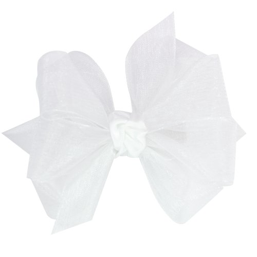 (Wee Ones Baby Girls' Mini Classic Organza Double Hair Bow - White)