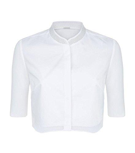 Elie Tahari Womens Harper Mesh Inset Button Front Crop Top White S
