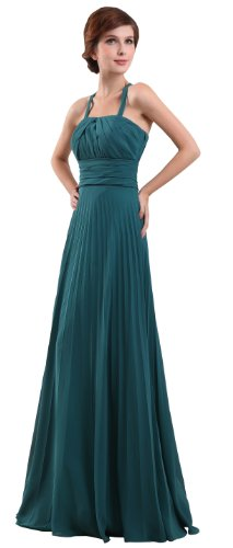 herafa p31399-12 Evening Gowns Elegant Halter Sleeveless Ruched Long 0 A-Line Green
