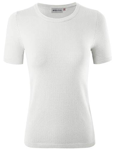 (MAYSIX APPAREL Womens Short Sleeve Crew Neck Knit Pullover Sweater White L)