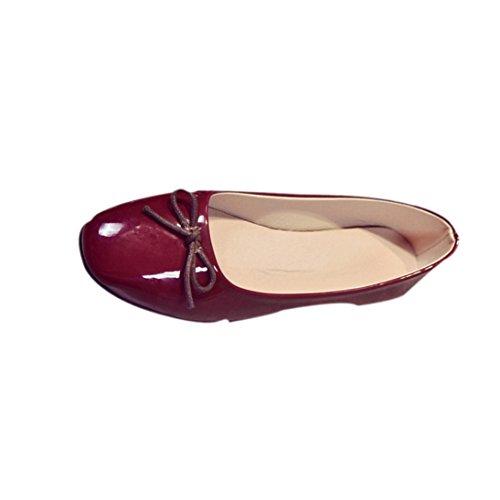 Ama (tm) Mocasines De Cuero De Las Mujeres Comfort Flats Slip On Bombas Planas Zapatos Wine