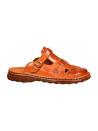 Herren Bequeme Sandalen Schuhe Mit Der Orthopadischen Einlage Aus Echtem Buffelleder Hausschuhe Modell 872 Kognak