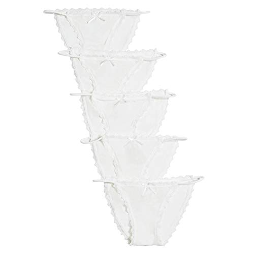 Combrwean Women's Lace String Bikini Panties Sexy Smooth Underpants Assorted Colors 5 Pack (5 Pack (White), L) (String White Panty Bikini)