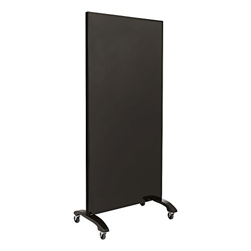 """Learniture Double-Sided Magnetic Tempered Glass Partition, 36"""" L x 72"""" H, Black, LNT-MDGP-90180BK-PK"""
