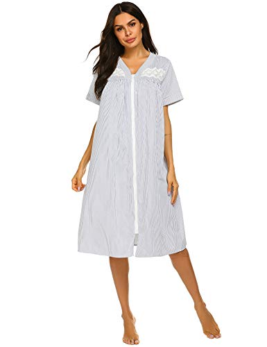 - Ekouaer Women Robes Short Sleeves Nightgowns Zipper Front Housecoat Soft Sleepwear (YDF3,Small)