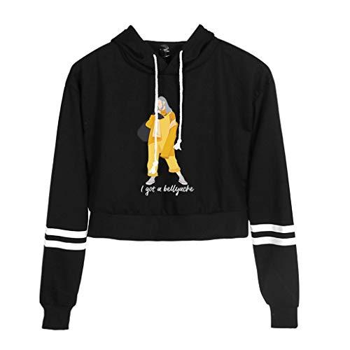 (SprinZ Women Striped Long Sleeves Drawstring Hoodies Hip Hop Girls Rapper Spider Printing Trendy Crop Top Loose Streetwear Sweatshirt)