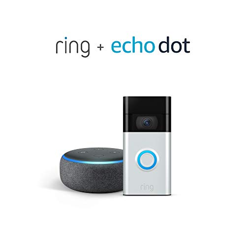 All-new Ring Video Doorbell, Satin Nickel (2020 release) with Echo Dot