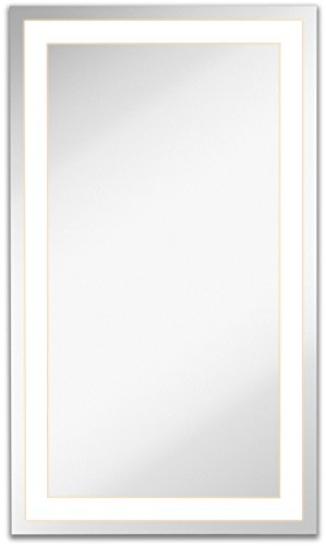 Lighted LED Frameless Backlit Wall Mirror Polished Edge Silver Backed Illuminated Frosted Rectangle Mirrored Plate Commercial Grade Vanity or Bathroom Hanging Rectangle Vertical Mirror 21 x 36