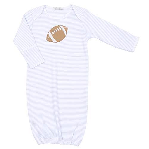 Magnolia Baby Baby Boy Love Football Applique Gown Blue Preemie