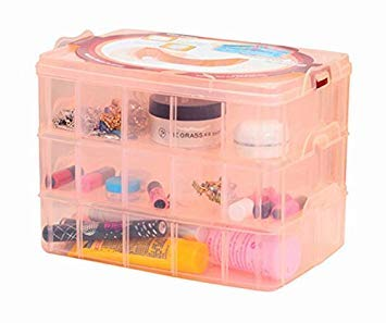 MINGHU 3-Tier Transparent Stackable Adjustable Compartment Slot Plastic Craft Storage Box Organizer Snap-lock Tray Container 3 Sizes 4 Candy Colors Available (Large 30 Compartment, Orange)