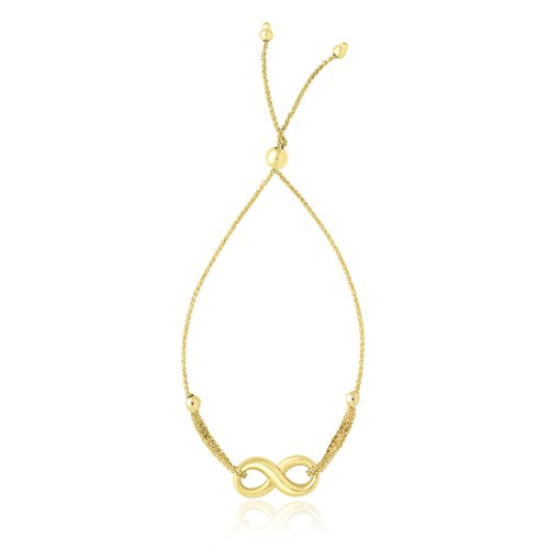 (Jewels By Lux 14K Yellow Gold Infinity Motif Adjustable Lariat Bracelet)