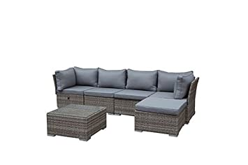 Rattan lounge grau  Amazon.de: greemotion Rattan-Lounge Toronto - Gartenmöbel-Set 6 ...