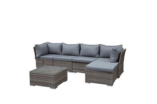greemotion rattan lounge toronto gartenm bel set 6 teilig aus polyrattan in braun beige mit. Black Bedroom Furniture Sets. Home Design Ideas