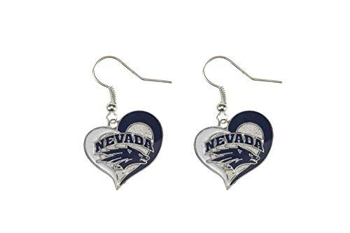 NCAA Nevada Wolfpack Swirl Heart Earrings (Ncaa Spirit Necklace)