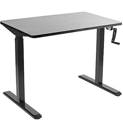 "VIVO Manual 43"" x 24"" Stand Up Desk | Black Table Top, Black Frame, Height Adjustable Standing Workstation with Hand Crank (DESK-KIT-MB4B)"