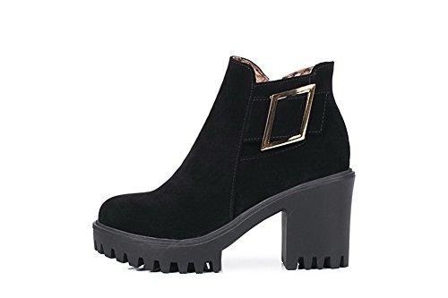 Boucles En Métal Pour Femmes Balamasa Zip Bottes Duréthane Haute Cheville Abl10480 Noir