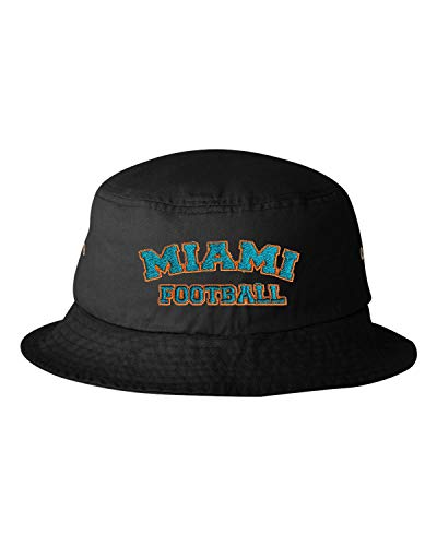 Go All Out One Size Black Adult Miami Football Embroidered Bucket Cap Dad Hat