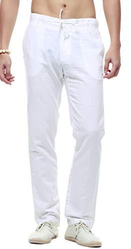 - chouyatou Men's Casual Drawstring Straight Fit Beach Linen Capri Pants (Medium, Full Length-White)