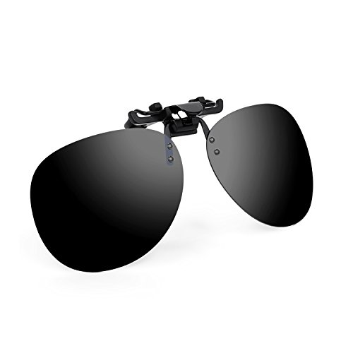 Besgoods Polarized Clip-on Flip up Sunglasses Sports Driving Outdoors, Black