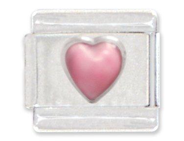 Heart Italian Charms - Pink Heart Italian Charm Bracelet Link