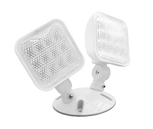 (NICOR LIGHTING ERL4-10-WH ERL Series Wet Location Emergency LED Remote Dual Light Fixture, White)
