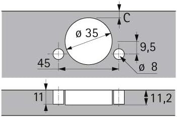 acodado // -3,5 mm // 16,0 mm Intermat 9936 para puertas de perfil de hasta 32 mm Bisagra para muebles /ángulo de apertura de 95/° TB 43 para prensar
