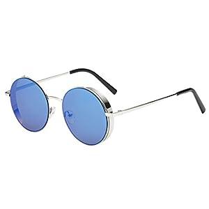Transer Simple Rounded Design Women Men Classic Metal Frame Mirror Sunglasses Eye Glasses (A-G)