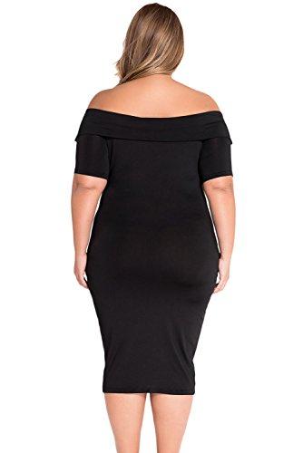 Damen plus Größe Off Schulter Midi Kleid Club Wear Winter Party ...