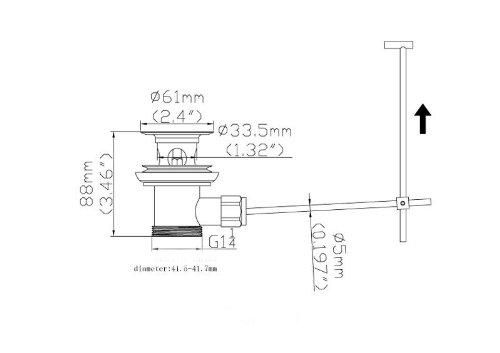 DeLanwa 607002.0 Valvola solido in acciaio inox di scarico dei rifiuti presa Excentergarnitur con timone per lavabo//lavandino