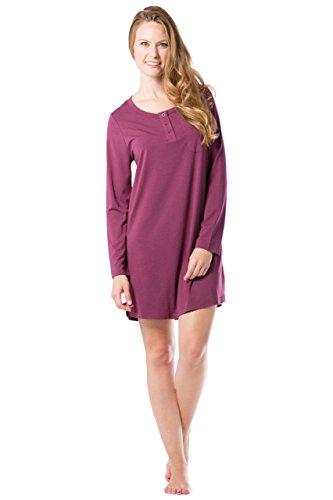 Womens Henley Nightshirt (Fishers Finery Women's Henley Nightshirt; Long Sleeve; Above Knee (Wine, XL))