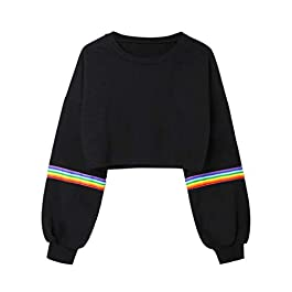 Deloito Women 2018 Fashion Sweatshirt Crop Top Puff Sleeve Casual Rainbow Striped Long Sleeve Short Pullover Soprt Jumper Blouse