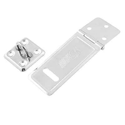 "uxcell Sheds Doors Security 3"" Long Stainless Steel Hasp and Staple Silver Tone"