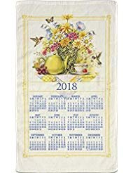 2018 Kitchen Linen Calendar Towel with Dowel for Easy Hanging (Wildflower Tea) (Calendar Linen Tea Towel)