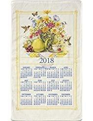 2018 Kitchen Linen Calendar Towel with Dowel for Easy Hanging (Wildflower Tea)