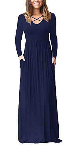 Empire Blue Apparel - Women's Casual Long Sleeve Maxi Dress Loose High Waisted V Neck Criss Cross Long Dresses with Pockest Navy Blue Medium