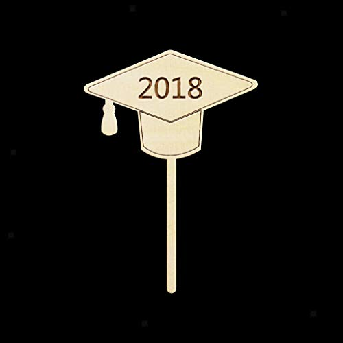 Vintage Wooden 2018 Cupcake Toppers Cake Topper Graduation for sale  Delivered anywhere in USA