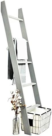"""72"""" Handmade Weathered Gray Stained Wooden Decorative Blanket Ladder Grey Farmhouse Modern Contemporary Wood Finish"""