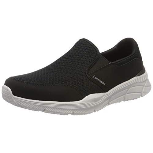 chollos oferta descuentos barato Skechers Equalizer 4 0 Zapatillas para Hombre Negro Negro Malla PU Blanco Ribete BKW 41 EU
