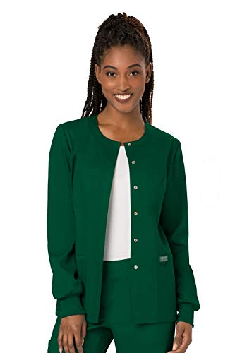 Cherokee Women's Snap Front Warm-up Jacket, Hunter Green, X-Small ()