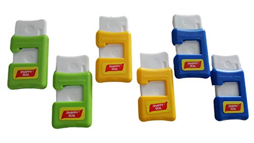 Snappy Seal Magnetic Bag Clips (6 pack) - the Worlds Greatest Re-Usable Bag Sealer! Innovatively designed bag clip that reseals bags tightly and easily keeping food Fresh longer