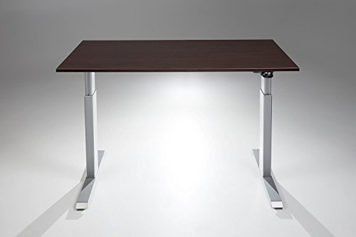 FlexTable Height Adjustable Sit Stand Desk w/ Silver Frame (Medium 24' x 48', Espresso)