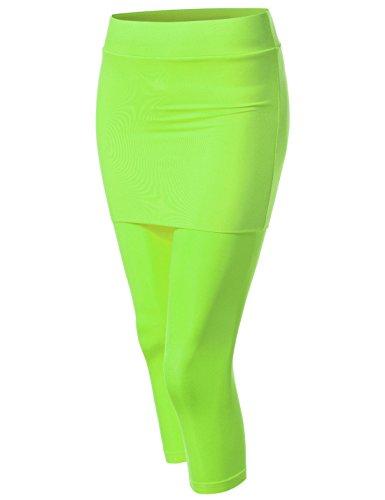 Lime Green Capri Pants (NEARKIN (NKNKWS7L) Beloved Womens Downy Skirted Urbane Capri Yoga Leggings LIME US S(Tag size M))