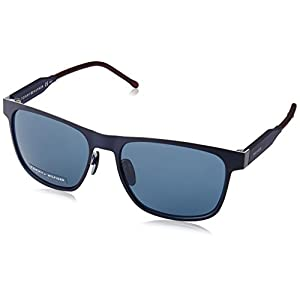 Tommy Hilfiger Th1394s Rectangular Sunglasses, Matte Blue Blue/Blue, 56 mm