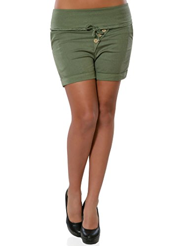 Minetom Pantaloncini Sportivi Yoga Donna Estivi Eleganti Sottile Magro Pantaloni Corti Bermuda Sexy Estate Shorts con Coulisse Hot Pants Verde