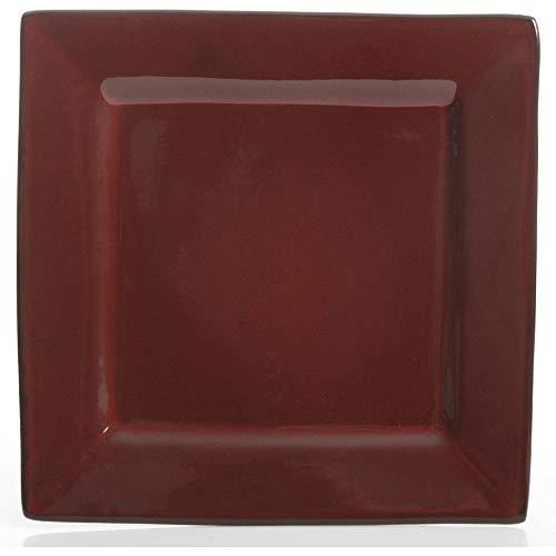 Gibson Studio Chelsea Lane 12-Piece Red Hard Square Dinnerware Set, Red
