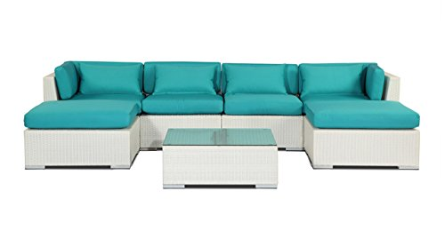 Kardiel  White Wicker Modern Outdoor Furniture Sofa Secti...